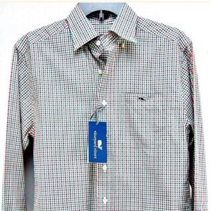 Red White and Green Plaid Long Sleeve Button Up